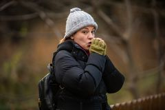 Woman Outdoor shots in Park, Winter Royalty Free Stock Photography
