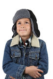 Freezing cold young boy Stock Photos