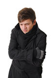 Freezing man with winter clothing Royalty Free Stock Photo