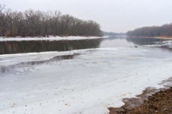 Freezing Mississippi River in Crosby Farm Park Stock Photos