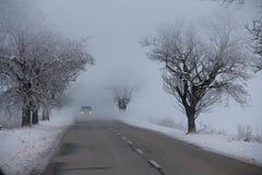 Freezing morning fog. Stock Photo