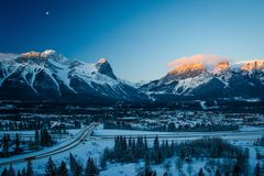 Freezing morning on Hoodoos lookout in Canmore, Kananaskis country, Canada. Morning on Hoodoos lookout, Kananaskis country in Canada, winter in the Bow Valley royalty free stock image