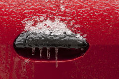 Freezing rain on a car Stock Image
