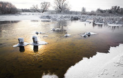 The freezing river Stock Photos