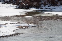 Freezing River Banks stock image