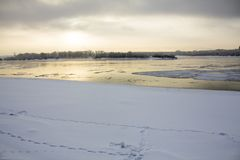 Freezing river on a cold winter day in Siberia.  Royalty Free Stock Image