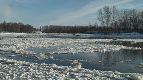Freezing of river at day Royalty Free Stock Image