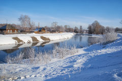 Freezing river Talitsa in winter. Altai, Siberia, Russia Royalty Free Stock Images