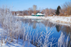 Freezing river Talitsa in winter. Altai, Siberia, Russia Stock Photos