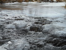 Freezing River. With water falling in between and Freezing Royalty Free Stock Photography