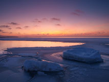 Free Freezing Sea Shore In The Romantic Evening Light Royalty Free Stock Image - 14355306