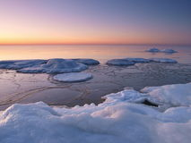 Freezing sea shore in the romantic evening light Royalty Free Stock Image