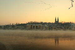 Freezing sunrise over Prague Stock Photos