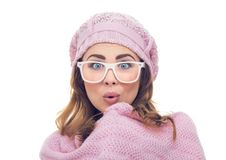 Freezing surprised woman Stock Image