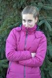 Freezing teenager girl Stock Photography