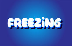 Freezing text 3d blue white concept vector design logo icon Royalty Free Stock Images