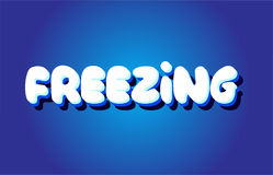 Freezing text 3d blue white concept vector design logo icon Stock Image