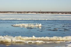 Freezing on the Volga river will be difficult due to the current Stock Photo