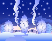 Freezing winter night. In the magical forest with warm home and beautiful starry sky Stock Photo