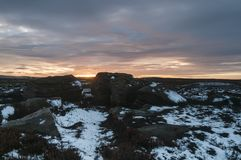 High Crag Sunset. A freezing winter Sunset over High Crag in Nidderdale, North Yorkshire, England. December 2017 Royalty Free Stock Images
