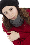 Freezing woman Stock Image