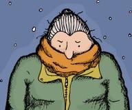 Freezing Woman Outdoors. Single adult senior female in orange scarf and coat Royalty Free Stock Photos