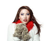 Freezing woman Stock Images