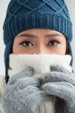 Freezing young woman Stock Image