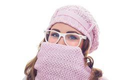Freezing young woman Stock Photo