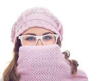 Freezing young woman Royalty Free Stock Photography