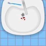 Fregadero con sangre y el cepillo de dientes stock de ilustración