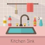 Fregadero de cocina con artículos de cocina Fotos de archivo