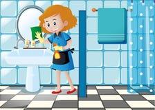 Fregadero de la limpieza de la mujer en el retrete ilustración del vector
