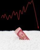 Fregadero del billete de RMB en partícula del poliestireno y un gráfico de la fluctuación en concepto monetario trasero Foto de archivo
