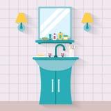 Fregadero del cuarto de baño con el espejo Fotografía de archivo libre de regalías