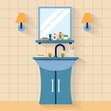 Fregadero del cuarto de baño con el espejo Imágenes de archivo libres de regalías