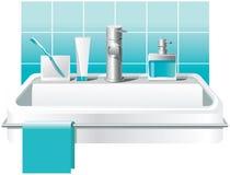 Fregadero, grifo y accesorios básicos del baño: jabón, cepillos de dientes, crema dental Diseño del vector ilustración del vector