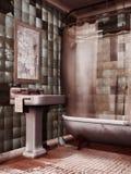 Fregadero y espejo viejos del cuarto de baño ilustración del vector