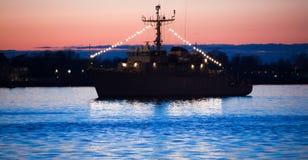 Fregat in haven royalty-vrije stock afbeeldingen