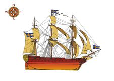 Frigate Old Ship  Royalty Free Stock Images
