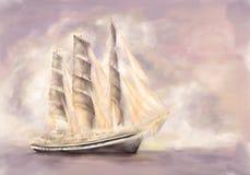Fregat in volledig zeil Royalty-vrije Stock Foto's