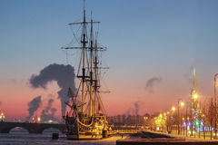 Fregaty gracja - restauracja w zimie Zdjęcia Royalty Free