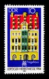 Fregehaus,莱比锡秋天公平的serie,大约1984年 免版税库存照片