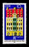 Fregehaus,莱比锡秋天公平的serie,大约1984年 库存图片