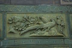 Fregio il pavone Tua Pek Kong Chinese Temple Città di Bintulu, Borneo, Sarawak, Malesia immagini stock