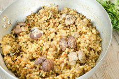 Fregola with clams Royalty Free Stock Photos