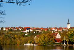 Freiberg am Nekar and Nekar river Royalty Free Stock Photo