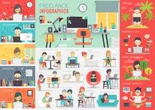 Freiberuflich tätiges Infographic stellte mit Diagrammen und anderen Elementen ein lizenzfreie abbildung