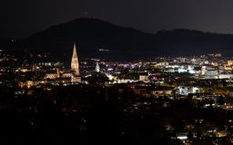 Freiburg city at night royalty free stock photography