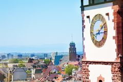 Freiburg cityscape with Schwabentor clock tower Stock Photos